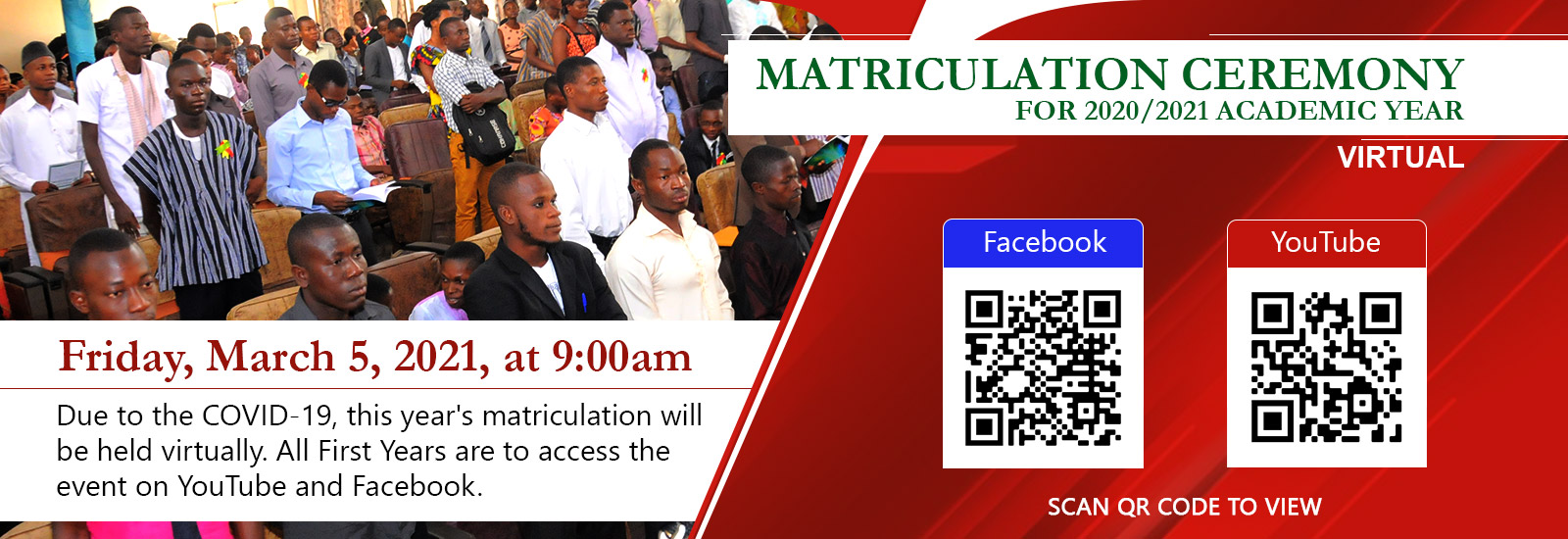 Matriculation Ceremony For 2020/2021 Academic Year